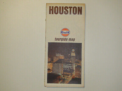 Vintage 1969 GULF Houtson Tourgide Map - Travel Road Map - VG