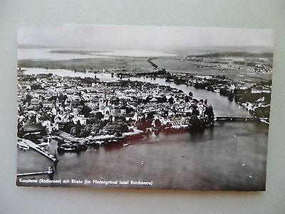 Ansichtskarte Konstanz Bodensee 1957 mit Rhein Hintergrund Insel Reichenau