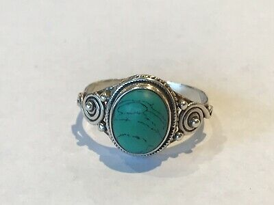 Beautiful Vintage Turquiose Sterling Silver Ring Size T