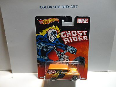 Hot Wheels Marvel Ghost Rider Orange '55 Chevy Panel Truck w/Real Riders