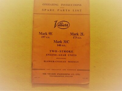 Operating Instructions for Villers Mark 9E, Mark 2L and Mark 31C Engines