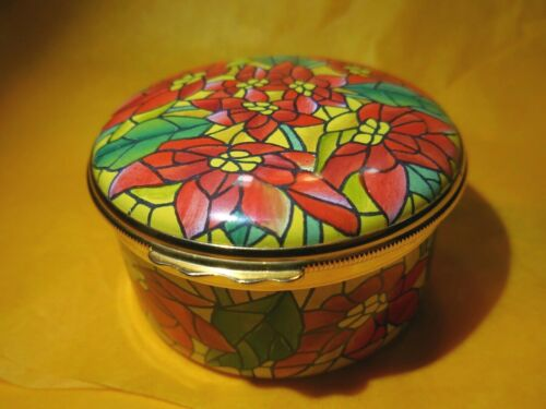 Tiffany & Co.- Halcyon Days Enamel Music Box-  Stained Glass Flowers
