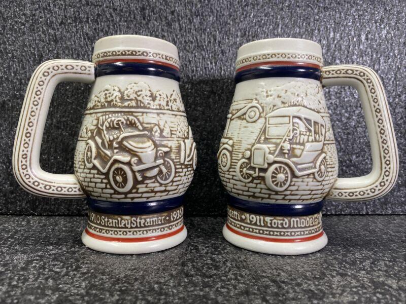 """Set of 2 - 1982 Avon Beer Steins 5"""" Stanley Steamer Ford Model T Bugatti"""