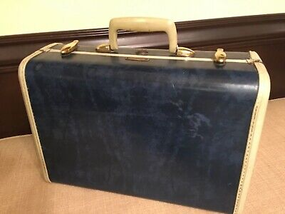 Vintage Samsonite Shwayder Blue Marble 4715 Suitcase Carry On Small Train Case.