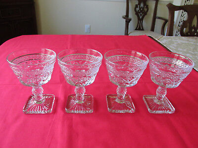 """(4) VTG IMPERIAL GLASS CAPE COD CLEAR 1602 CHAMPAGNE/TALL SHERBET GOBLET 5"""" EXCL"""