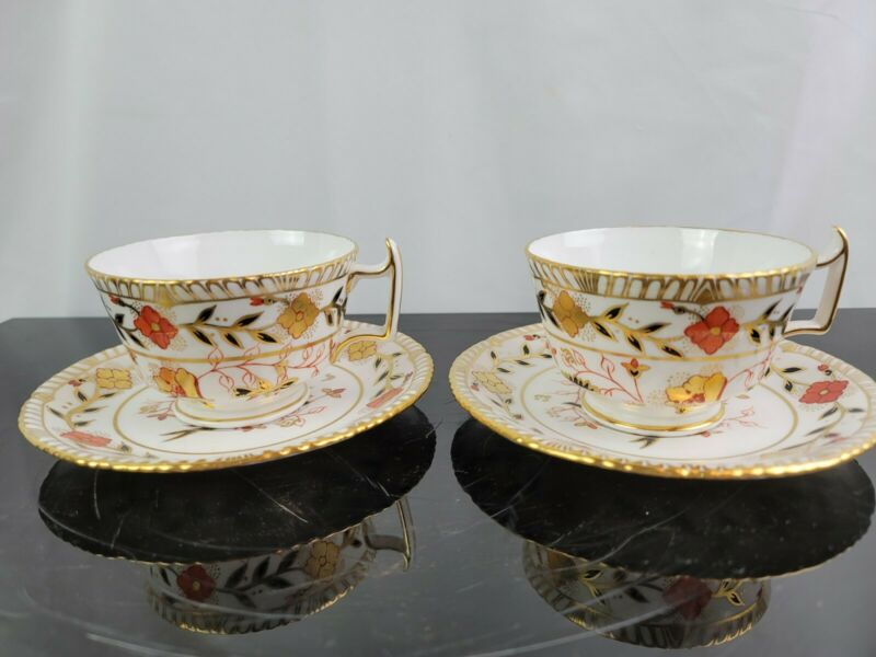 Set Of 2 Royal Crown Derby Asian Rose Cup And Saucer