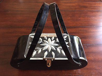 Vintage 50s Black Carved Lucite Box Purse Florida Handbag Made in Miami