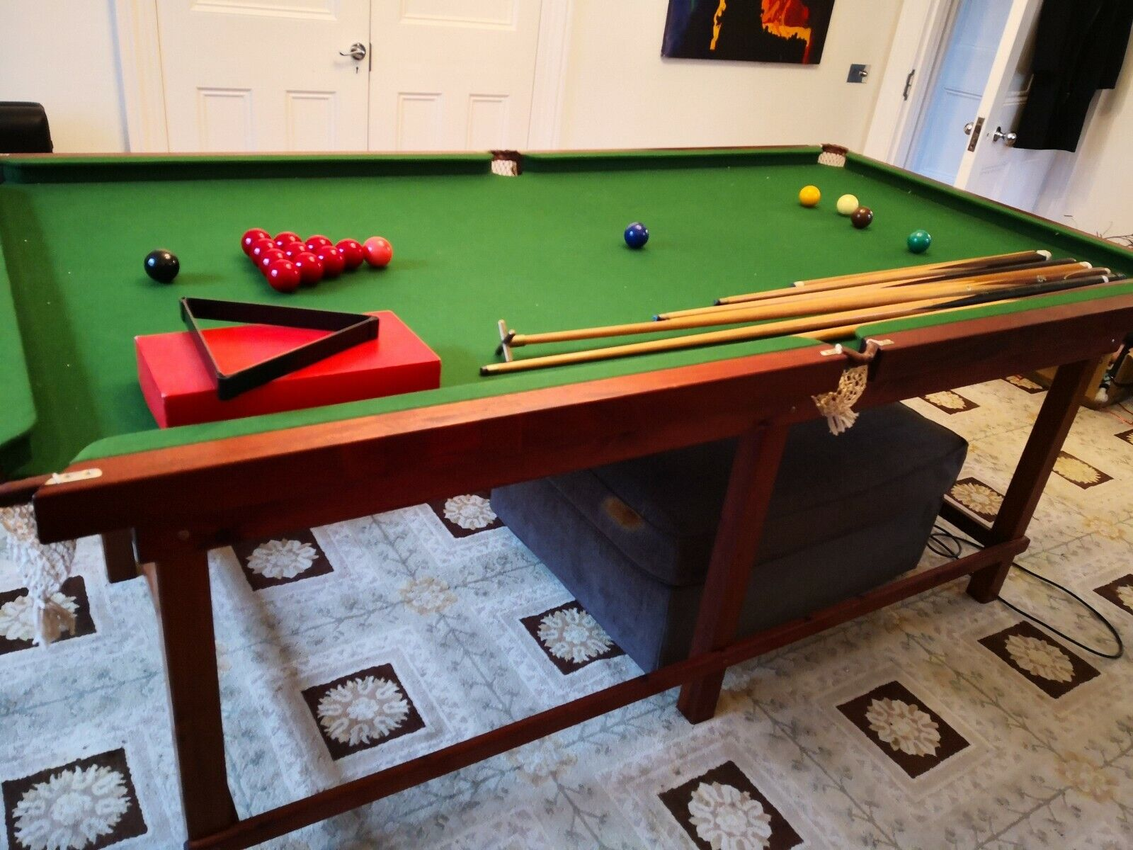 Half size snooker table for christmas. With balls, cues, etc. 1.16m * 2.23m