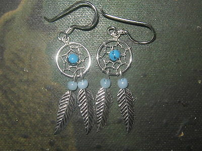 SMALL 27MM 925 STERLING SILVER SOUTHWEST TURQUOISE DREAM CATCHER EARRINGS     - Small Turquoise Dreamcatcher Earrings