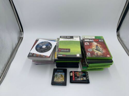 Lot of 35 Video Games for Xbox, Xbox 360, PS2, PS3, Wii, Atari, and Genesis