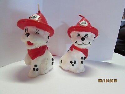 2 new Dalmatian Puppy Dog Fire Chief Candles Birthday Cake Winking Hat Bandanas (Red Bandana Cake)