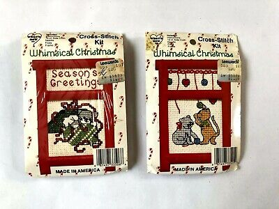 Christmas Ornament Cross Stitch Kits Kitty Cat Theme Red Frame Vintage Lot #CR32