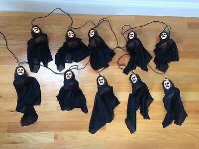 VTG Halloween Scary String Lights 10 Blow Mold Grim Reaper Skeleton Skulls