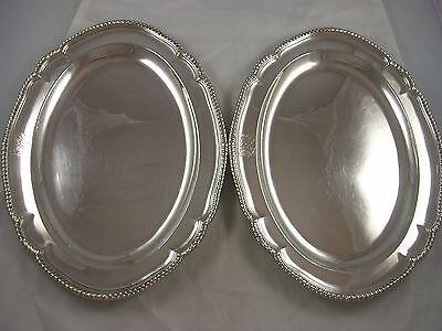 High Quality Pair 1803 Crested Robert Garrard Silver Meat Plates 2789 grams