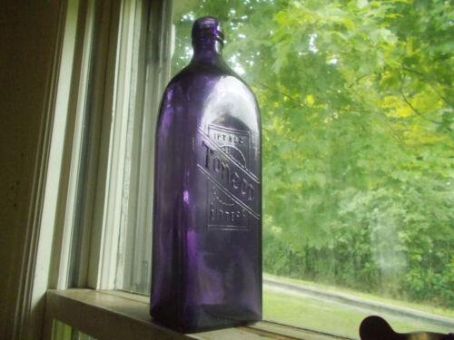 TONECO BITTERS FGW FAIRMOUNT INDIANA GLASS MARK AMETHYST PURPLE BITTERS BOTTLE
