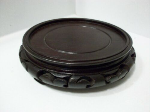 Vintage Chinese Carved Wood Display Stand Asian Base Bowl Vase Figurine 6 Inch
