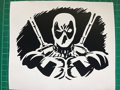 Deadpool Decal Sticker Custom Car Bike Van Window Door Matte Black 160x130mm