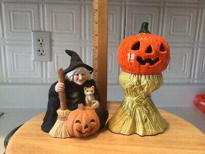 Vtg Jack O Lantern Haystack Witch Halloween Ceramic Figurine Tea Light Holder
