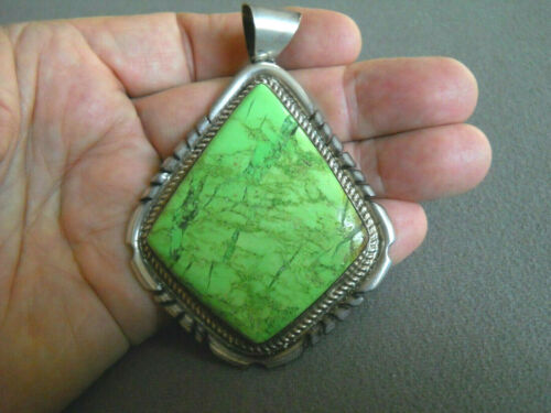 Huge Southwestern Soft Apple Green Gaspeite Stone Sterling Silver Etched Pendant