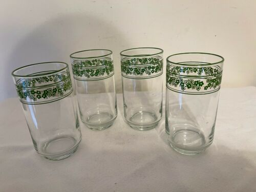4 Corelle Spring Blossom Crazy Daisy Glass Tumblers Libby Drinking Glasses 12 oz