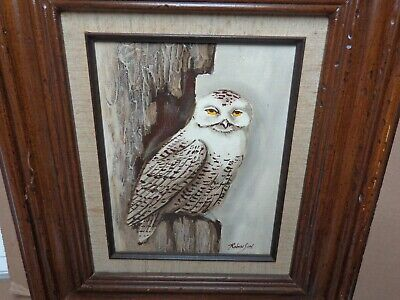 OWL ORIGINAL OIL PAINTING 1981 VINTAGE ARTIST ROBINSON COMES W COA #129467