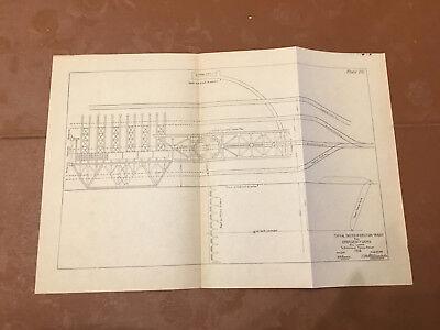 1913 Panama Canal Sketch Diagram Erection Tracks for Emergency Dams All Locks