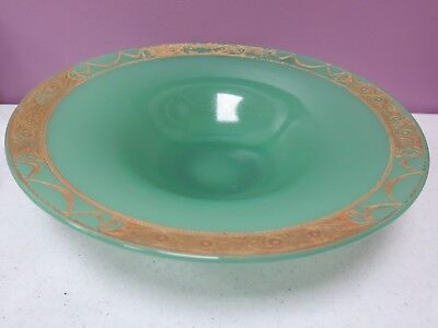 ANTIQUE / VINTAGE NORTHWOOD JADE JADEITE GREEN GLASS CONSOLD BOWL GOLD 12 3/4""