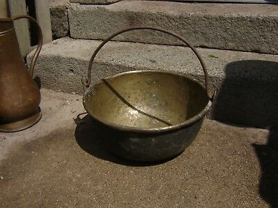 vintage french brass hanging cauldron/pan iron handle planter/jardiniere
