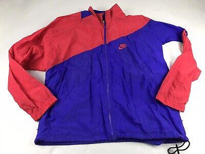 Vintage Nike Windbreaker Jacket Men Large L Red Blue Colorblock