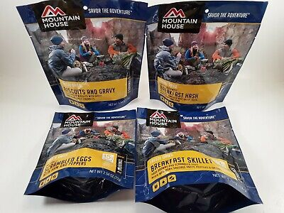 MOUNTAIN HOUSE 4-PACK Freeze Dried BREAKFAST Food Emergency Survivor Meals - Freeze Dried Meals