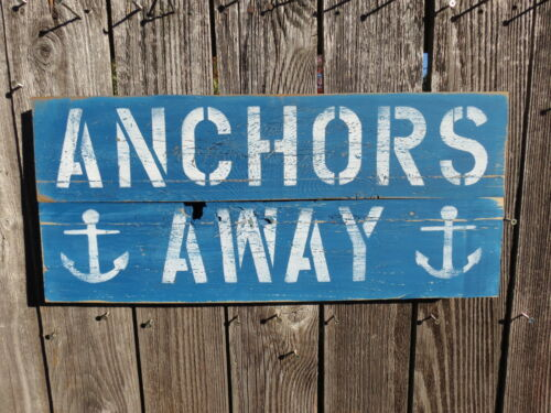 """10+ X 24 INCH WOOD """"ANCHORS AWAY"""" SIGN NAUTICAL SEAFOOD (#S842)"""