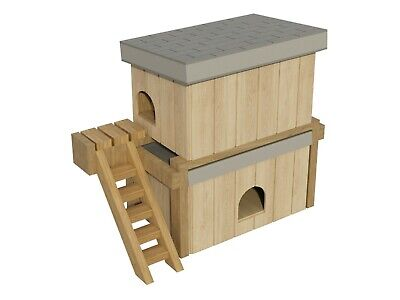 Dog House Plans DIY Medium Size Wooden Two Story Pet Kennel Home Shelter Outdoor
