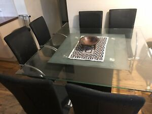 8 Seater Square Glass dining table with 8 chairs