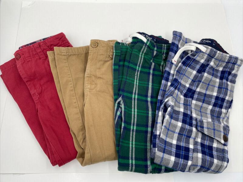 Lot of 4 Boys Mini Boden Flannel Cargo 7 7Y Tartan Plaid Drawstring Waist Khaki