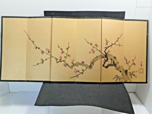 ANTIQUE JAPANESE WATERCOLOR AND PAINTED 4-PANEL SCREEN w/CHERRY BLOSSOMS BRANCH