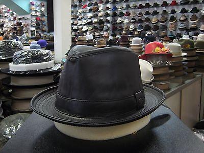 Borsalino Leather - BORSALINO GENUINE LEATHER BLACK FEDORA HAT (READ DESCRIPTION FOR SIZE)