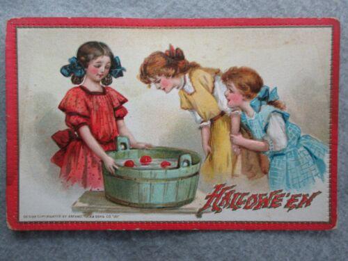 Antique Halloween Bobbing For Apples Tuck Embossed Postcard
