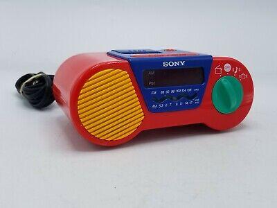 Sony ICF-C6000 My First Sony Kids Alarm Clock Radio Red / Blue Tested & Works
