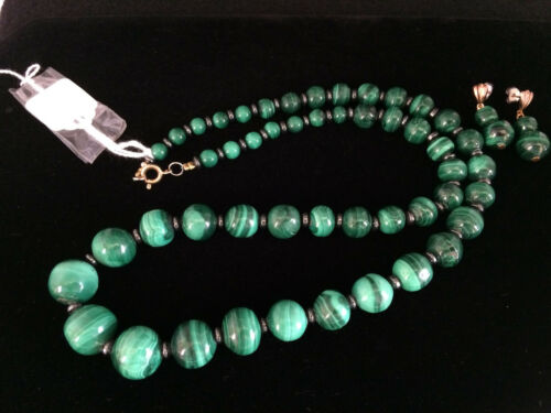 Vintage Graduated Beaded Malachite Necklace Earrings Set