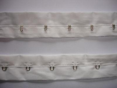 Korsagenband Haken und Ösen Miederband weiß