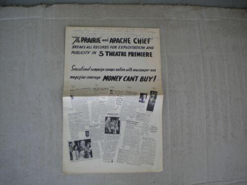 Edward Finney Autographed 1947 The Prairie Apache Chief Movie Pressbook Rare