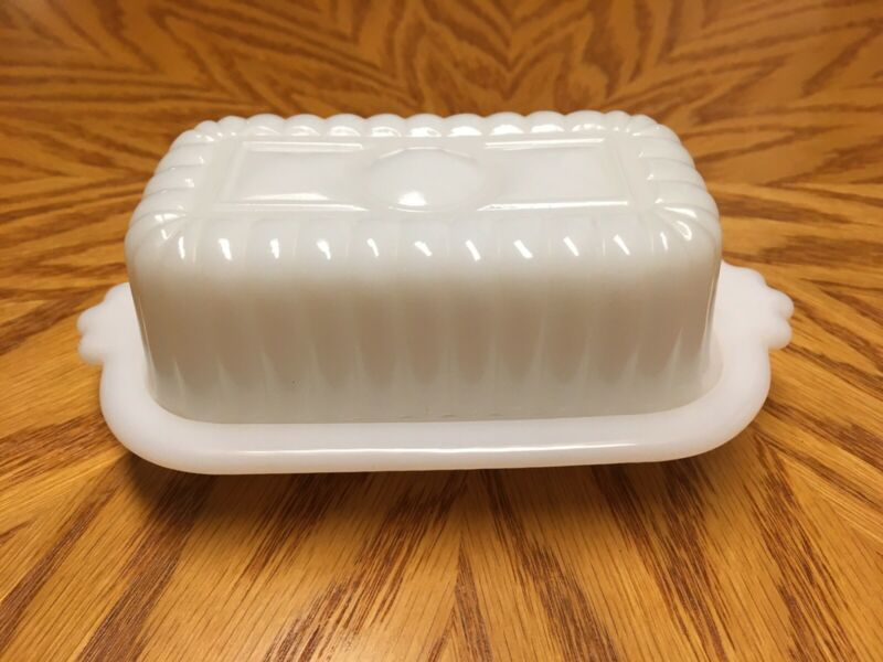 Hazel Atlas Vintage Small Milk Glass Covered Butter Stick Dish