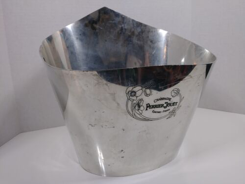 rare Perrier Jouet champagne bucket Etain stainless steel pail cooler
