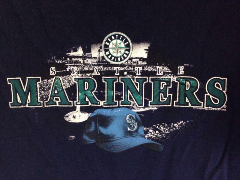 Mariners Seattle Baseball MLB  Mens Blue Large T Shirt  Free Shipping USA