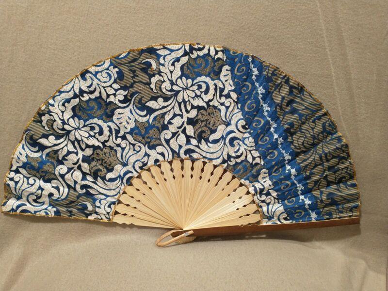 SENSU JAPANESE VINTAGE SENSU, BLUE, FLOWER, BAMBOO SHAFT.