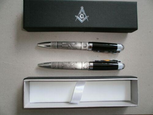 2 NEW Boxed Free Mason TwoTone Black & Pewter Ballpoint Pen with Masonic Symbols