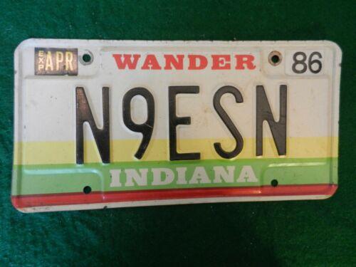 1986 *iNDIANA* LICENSE PLATE  #N9ESN