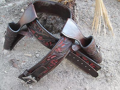 D.A.D CUSTOM LEATHER Double Draw Hand Tooled Western Cowboy Holster - Double Cowboy Holster