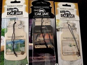Yankee Candle 3x Car Air Freshener Clean cotton Black coconut 🌴 Fluffy Towels