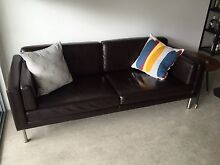 Chocolate brown 2 seater modern leather lounge Alderley Brisbane North West Preview